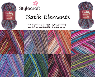 Stylecraft BATIK ELEMENTS Acrylic Wool Double Knit Knitting Wool Yarn 50g Ball • 1.95£