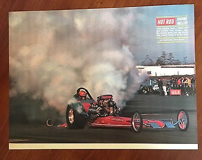 Vintage 1969 Original Print Ad HOT ROD Drag RACING GALLERY Tom Hoover On Fire • 7.83£