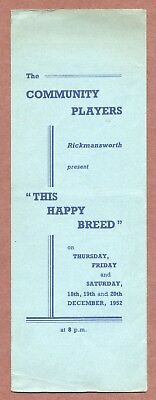 Rickmansworth Players,   This Happy Breed ,  Noel Coward,  Jupp,  Spicer   JX547 • 4.79£