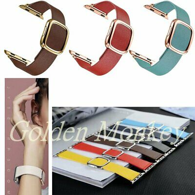 AU34.14 • Buy Genuine Leather Magnetic Closure Wrist Band Strap For Apple Watch IWatch 38 42
