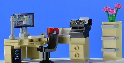 LEGO Office Corner Desk Set With Computer And Printer And Filing Cabinet • 12.99£