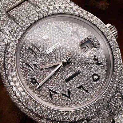 $ CDN37334.07 • Buy Rolex Datejust II 116300 Arabic Script Pave Diamond Dial Fully Iced Out 41mm SS