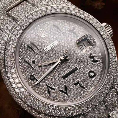 $ CDN40534.96 • Buy Rolex Datejust II Arabic Script Pave Diamond Dial Fully Iced Out 41mm SS Watch