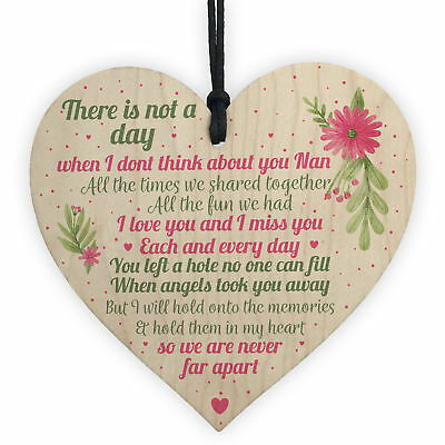 Nan Memorial Gifts Grave Plaque Tribute Sign Wooden Heart Mum Nan Birthday Gifts • 3.99£