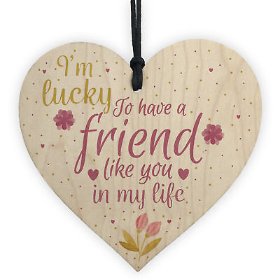 £3.99 • Buy Friendship Gift Sign Best Friend Plaque Shabby Chic Wood Hanging Heart Thank You