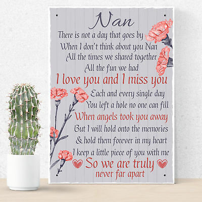 Nan Memorial Gifts Grave Plaque Tribute Hanging Sign Mum Remembrance Gifts • 6.99£