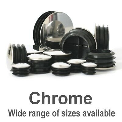 Chrome Metal Capped Round Tube Pipe Inserts Plugs Blanking End Caps. Made In UK • 8.30£