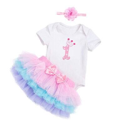 AU13.44 • Buy Baby Girl First 1st Birthday Outfit Tutu Skirt Dress Cake Smash Party Headband