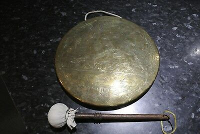 Vintage 10  Egyptian Brass Gong And Striker • 95£