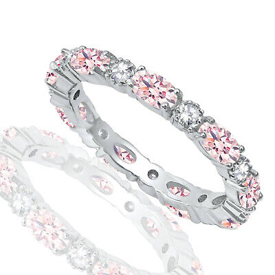 £57.34 • Buy Oval Pink CZ And Clear Eternity Stackable And Round CZ Genuine Silver Ring