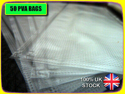50 X PVA BAGS 60 X 100mm FOR CARP BOILIES, PELLETS. LICK 'N' STICK. VERY STRONG • 3.99£