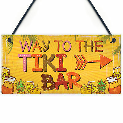 £3.99 • Buy Welcome Tiki Bar Party Hanging Pub Plaque Beer Cocktails Beach Decoration Sign