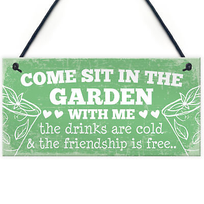 £3.99 • Buy Come Sit Shabby Chic Wall Signs Garden Sign Shed Plaques Alcohol Friendship Gift