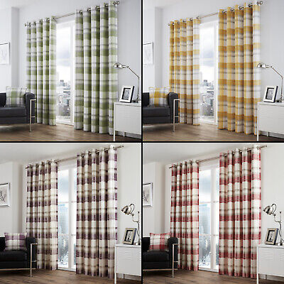 £30.99 • Buy Balmoral Check Fully Lined Eyelet Ring Top Curtains - Red Purple Green Yellow