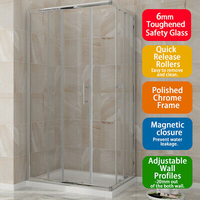 Corner Entry Shower Enclosures Cubicle Sliding Glass Door Square/Rectang&Tray • 134.99£