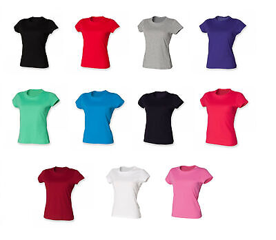 £3.79 • Buy Ladies Perfect Fit T-Shirt Womens  Cotton Short Sleeve Crew Neck Top SK201