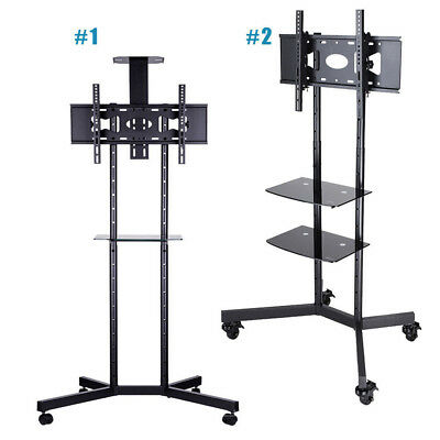 Steel TV Floor Display Stand Trolley On Wheels Mobile With Shelf To 600x400 VESA • 59.39£