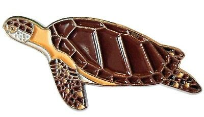 Turtle Sea Creature Marine Animal Brooch Metal Enamel Pin Badge 30mm NEW V1 • 2.69£