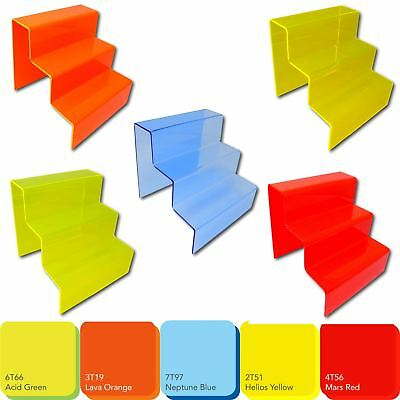 £8.76 • Buy 3 Step Tier Fluorescent Acrylic Plastic Retail Riser Counter Display Stands