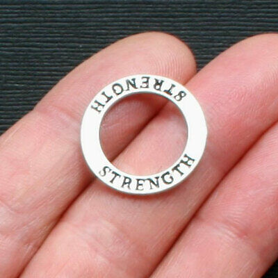 $ CDN4.97 • Buy 4 Strength Charms Antique Silver Tone Two Sided Affirmation Circles - SC1484
