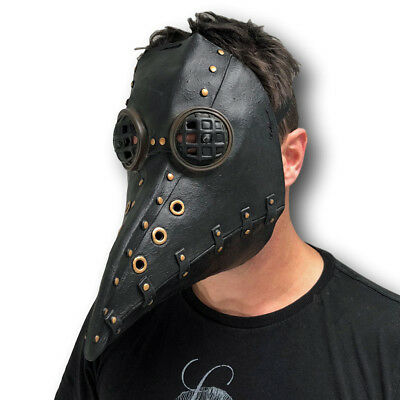 LED Plague Doctor Crow Bird Long Nose Steampunk Mask Halloween Horror Costume • 14.97£