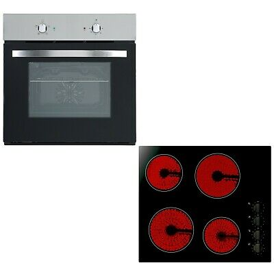 Cookology Single Electric Fan Forced Oven & 60cm Knob Control Ceramic Hob Pack • 289.99£