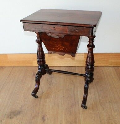 AU345 • Buy Antique Victorian Work Table With Inlay Circa 1880