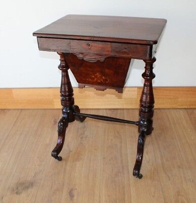 AU325 • Buy Antique Victorian Work Table With Inlay Circa 1880