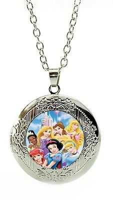 Disney Princess Necklace Marble Locket With Gift Pouch Christmas Birthday LC2 • 5.75£