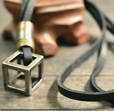 MENS LEATHER Black Stainless Steel CUBE NECKLACE Boys Gents Bikers Punk M32 • 5.50£