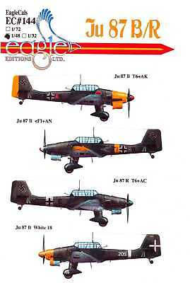 $14.50 • Buy EagleCals Decals 1/48 German JUNKERS Ju-87B/R STUKA Dive Bomber