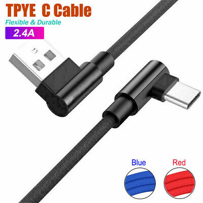 AU6.95 • Buy Braided 90° Degree Angle USB C Type C Fast Data Snyc Charger Charging Cable