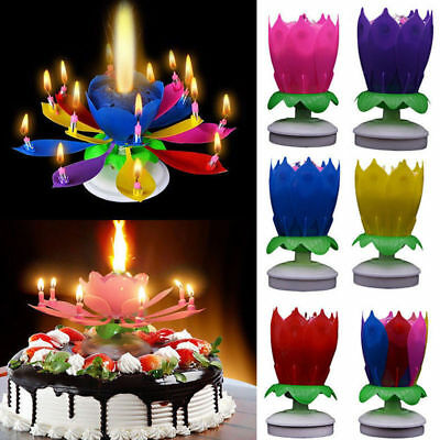 $ CDN3.40 • Buy New Cake Topper Lotus Flower Candle Blossom Musical Rotating Birthday Decoration