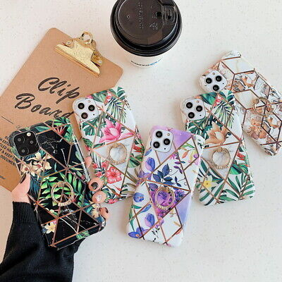 AU7.10 • Buy For IPhone 11 Pro Max XS XR X 8 6 7 Plating Flower Holder Soft Phone Case Cover