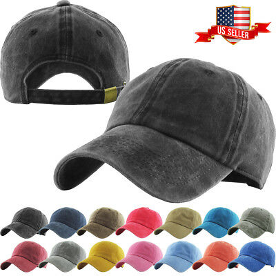 Pigment Washed Cotton Cap Baseball Caps Hat Adjustable Polo Style Plain Solid • 8.48£