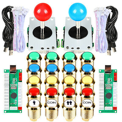 2 Player Arcade Stick Kit Joystick Coin LED Gilded Push Buttons For Raspberry Pi • 38.99$