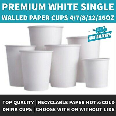 AU22.94 • Buy 4oz/7oz/8oz/12oz/16oz White Paper Coffee Cup With Or Without White Sip Lids