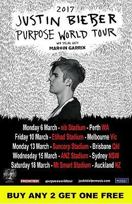 AU14.95 • Buy JUSTIN BIEBER  2017 PURPOSE  Australian  Laminated Tour Poster