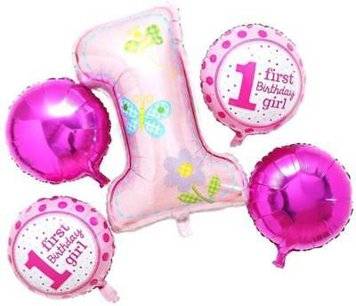 AU6.50 • Buy Girls Pink First 1st Birthday Set Of 5 Balloons  Party Wedding Melb Seller