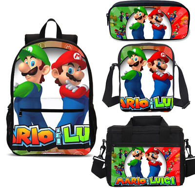 £8.99 • Buy Super Mario Kids Large Backpack Insulated Lunch Box Shoulder Bag Pencil Case Lot