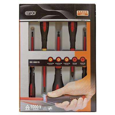 Bahco BE-9881S ERGO 5 Piece VDE Insulated Slotted & Phillips Screwdriver Set • 24.40£