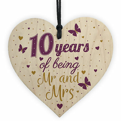 10 Year Anniversary Gift Wooden Heart Sign Mr And Mrs 10th Anniversary Plaque • 3.99£
