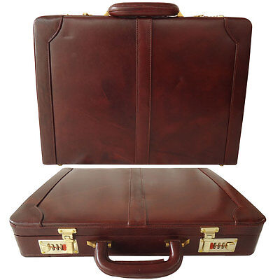 $134.99 • Buy Genuine Leather Hard Briefcase Vintage Style Attache Case Bag Father's Day Gift