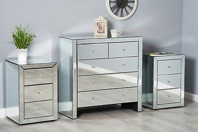 Mirrored Bedroom Furniture Set Dressing Table Chest Of Drawers Bedside Table • 129.99£