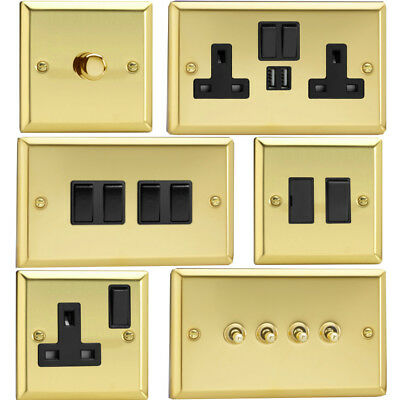Varilight Victorian Brass Standard Plate Switches Sockets Etc With Black Inserts • 12.90£