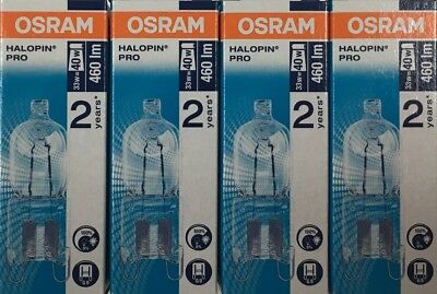 4 Pack Osram 33W = 40W G9 2pin Halopin Halogen Capsule Clear Dimmable Bulb • 9.60£