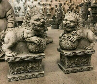 Chinese Pair Foo Dogs Stone Garden Ornament Post Finial Gate Guardians Stunning • 145£