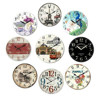 AU19.95 • Buy Wood Wall Clock Vintage Retro Country Style Rustic Antique Kitchen Home Decor
