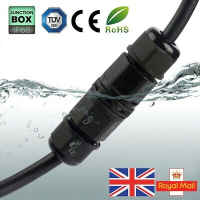 Waterproof Junction Box Case Electrical Cable Wire Connector Outdoor 2Pin 3Pin • 2.83£