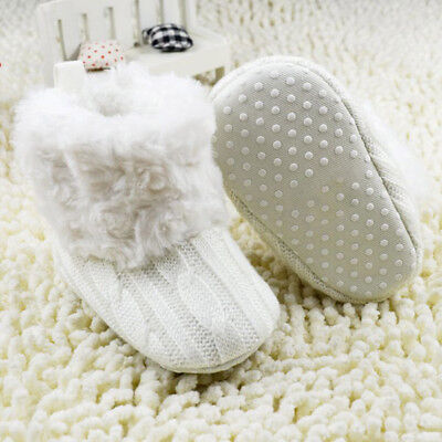Baby Kid Girl Knitted Furry Boots Booties Fleece Warm Winter Snow Crib Shoes • 6.69£